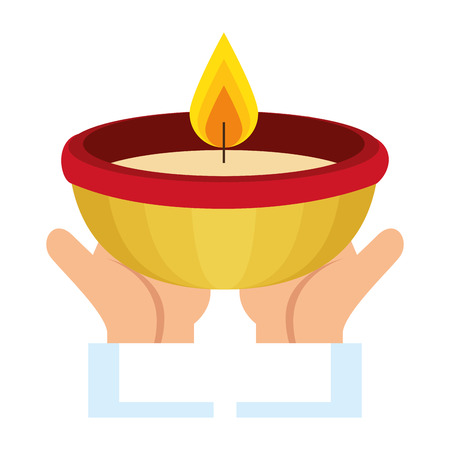 hands with ceremonial candle isolated icon vector illustration design