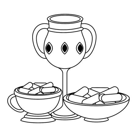 Sacré bougie tasse et ramadan food vector illustration design Banque d'images - 102030624