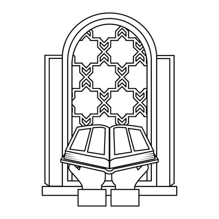 sacred book with temple window religious icon vector illustration design Vectores