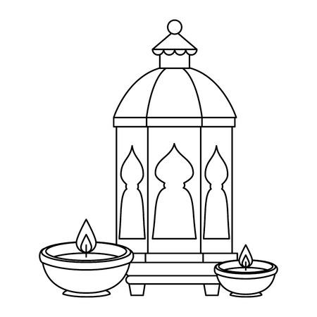 lamp and candles decoration ramadan kareem vector illustration design