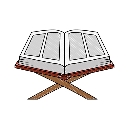 sacred book with lectern religious icon vector illustration design