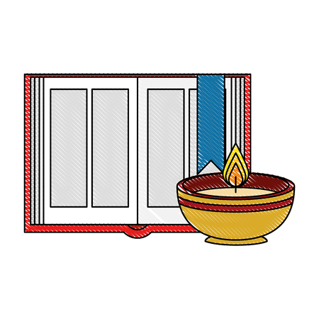 sacred book with candles religious icon vector illustration design
