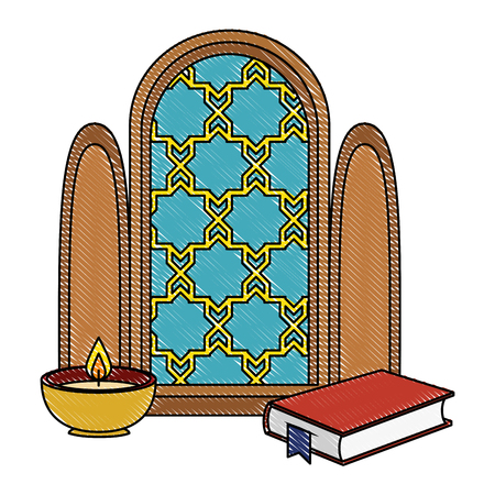 window of temple and book with candle vector illustration design