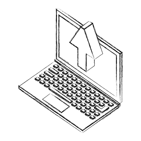 laptop computer with arrown up isometric icon vector illustration design