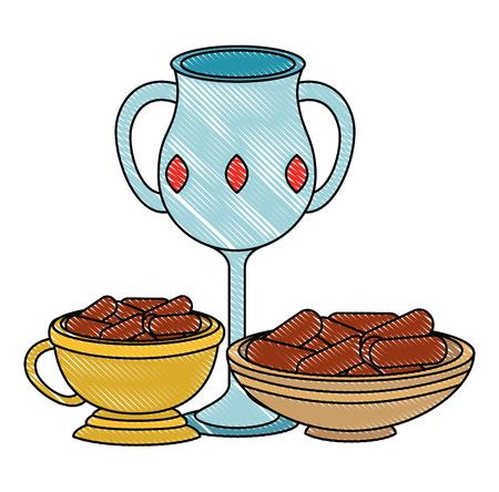 Sacré bougie tasse et ramadan food vector illustration design Banque d'images - 102030672