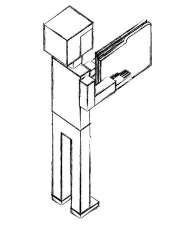elegant businessman with folder isometric icon vector illustration design