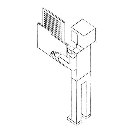 elegant businessman with folder and document isometric icon vector illustration design