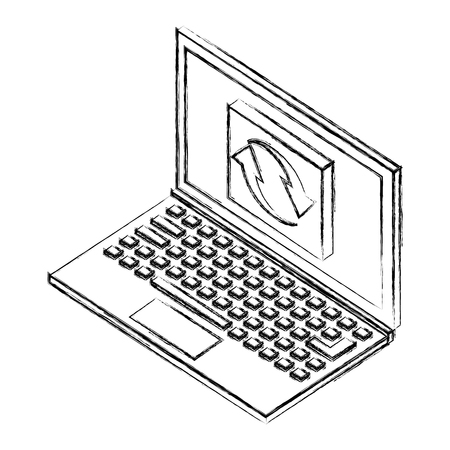 laptop computer with button reload isometric icon vector illustration design