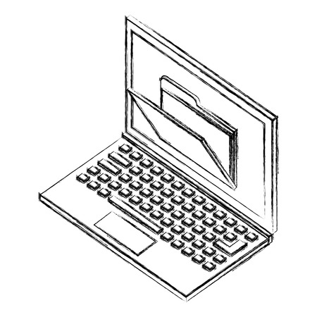 laptop computer with folder isometric icon vector illustration design