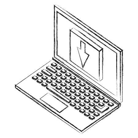 laptop computer with button arrow dowm isometric icon vector illustration design