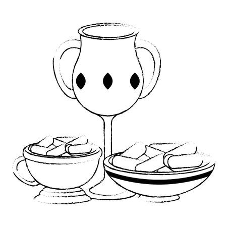 Sacré bougie tasse et ramadan food vector illustration design Banque d'images - 102030765