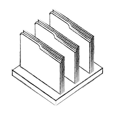shelf with folders documents isometric icon vector illustration design