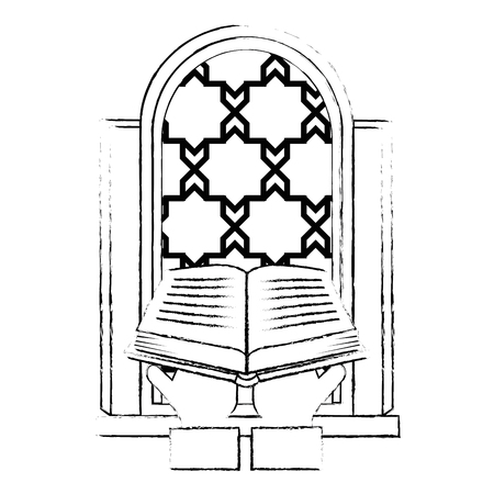 sacred book with temple window religious icon vector illustration design Ilustração