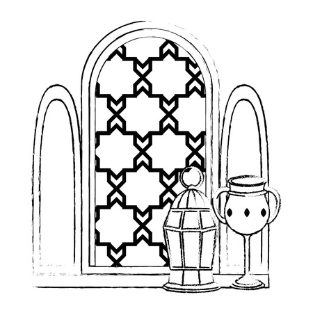 window of temple with lamp and chalice vector illustration design
