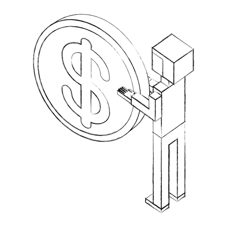 elegant businessman with coin isometric icon vector illustration design