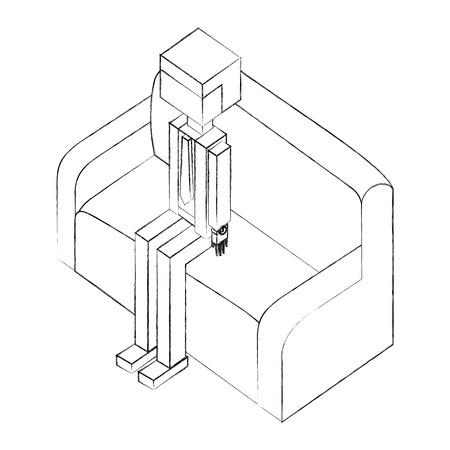 elegant businessman sitting in sofa isometric icon vector illustration design
