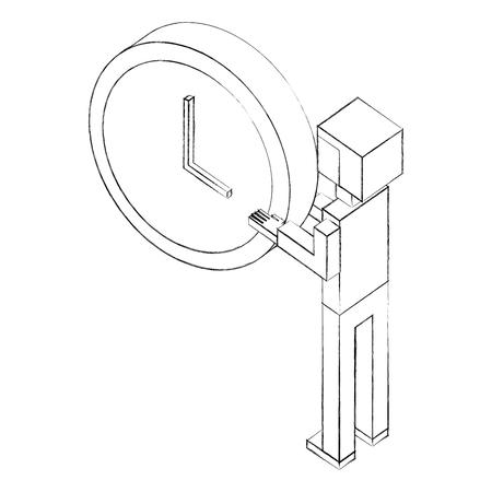 elegant businessman with clock isometric icon vector illustration design