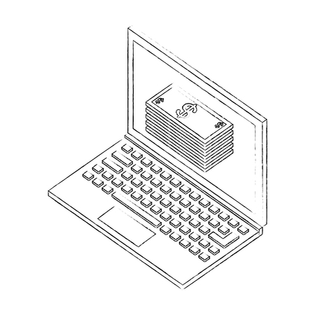 laptop computer with pile of bill dollars isometric icon vector illustration design Illustration