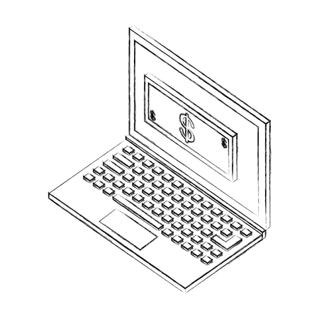 laptop computer with bill dollar isometric icon vector illustration design