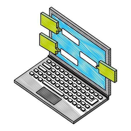 laptop computer with speech bubbles isometric icon vector illustration design Ilustração