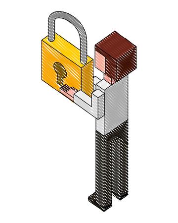elegant businessman with padlock isometric icon vector illustration design