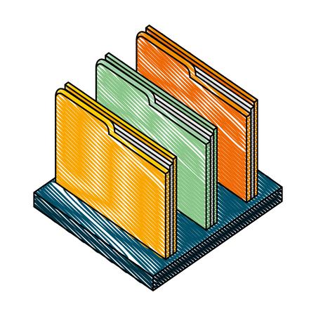 folders documents with shelf isometric icon vector illustration design Illustration