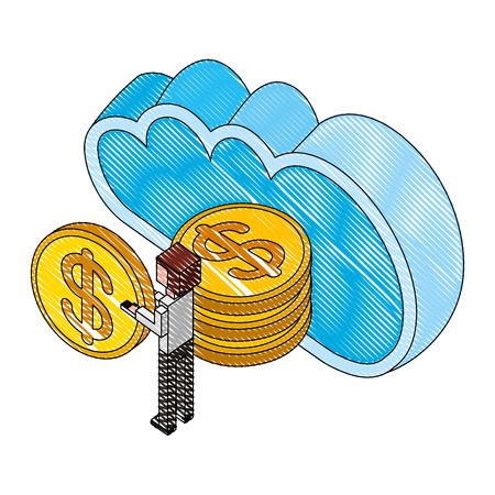 cloud computing with money coins and businessman isometric icon vector illustration design