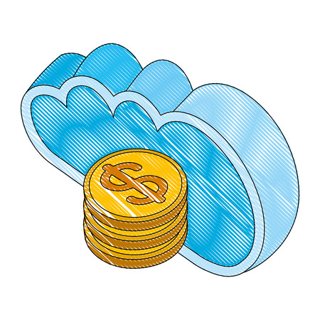 cloud computing with money coins isometric icon vector illustration design Illustration