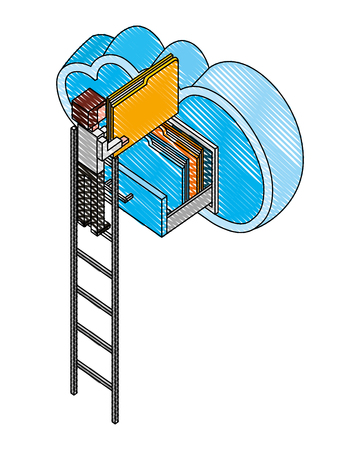 businessman climbing stairs and cloud computing isometric vector illustration design