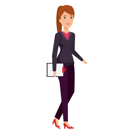 businesswoman with clipboard avatar character vector illustration design
