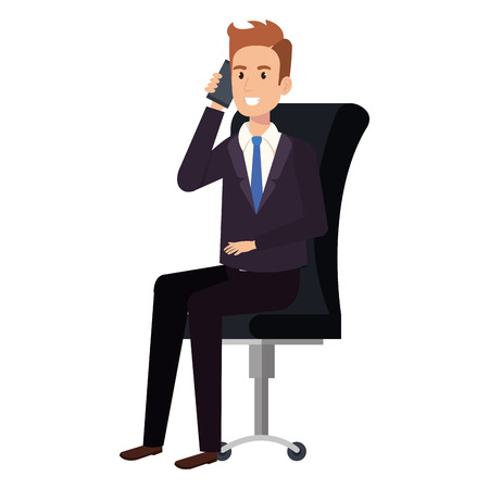 businessman sitting in office chair calling with smartphone vector illustration Illustration