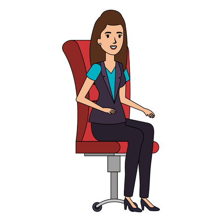 businesswoman sitting in office chair vector illustration design