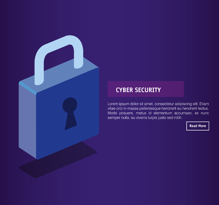 isometric padlock cyber security vector illustration design Illustration