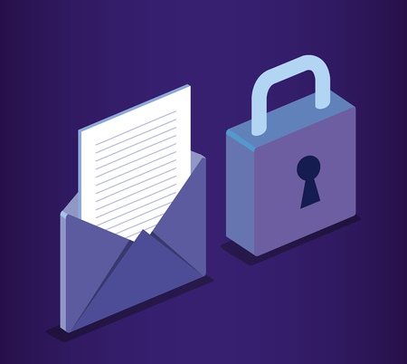isometric envelope and padlock cyber security vector illustration design