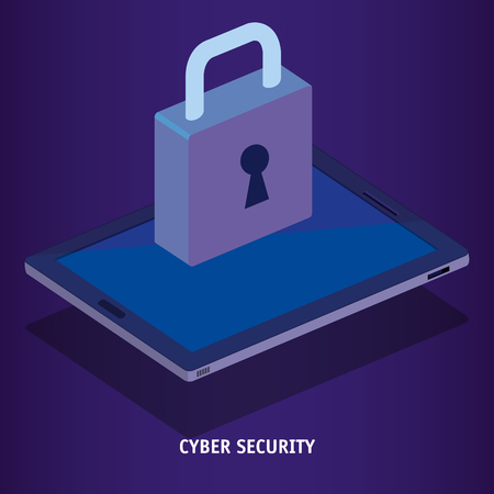 isometric tablet and padlock cyber security vector illustration design Banque d'images - 102102093