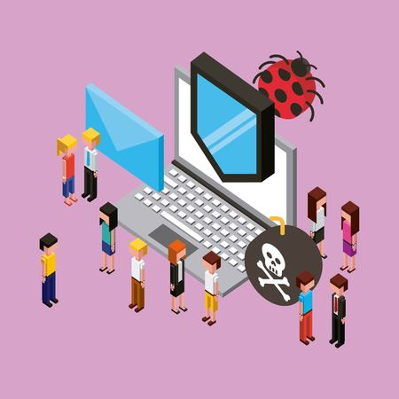 people virus protection email danger cloud computing isometric vector illustration