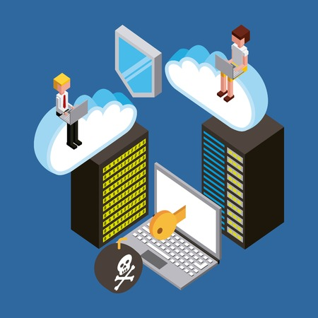 people working laptop database security virus cloud computing storage isometric vector illustration