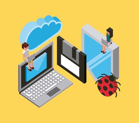 people laptop protection antivirus floppy cloud computing storage isometric vector illustration
