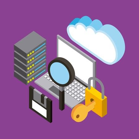 laptop database security analysis backup cloud computing storage isometric vector illustration Illustration