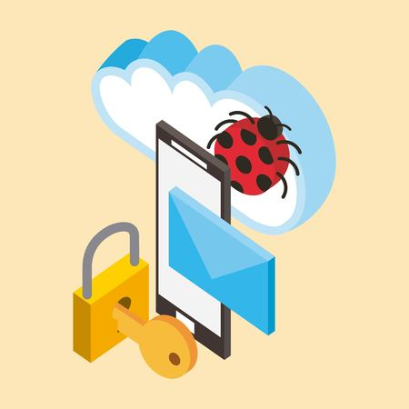 smartphone cyber security virus email cloud computing storage isometric vector illustration