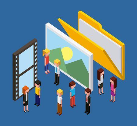 ピープルフォルダ写真映画映画クラウドコンピューティングストレージ等角ベクトルイラスト 写真素材 - 102102147