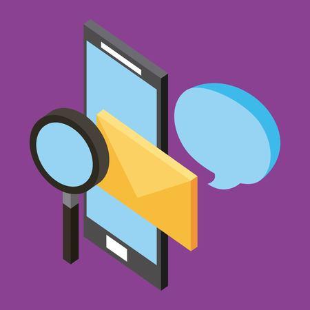 smartphone email communication analysis isometric vector illustration