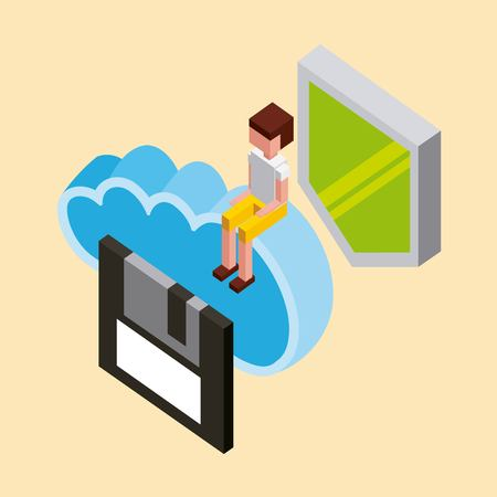 man floppy shield protection cloud computing storage isometric vector illustration