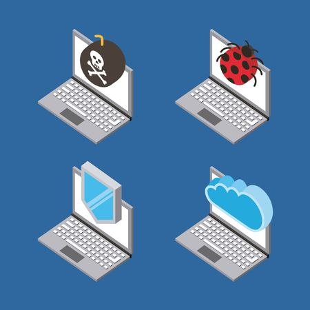 set of laptop devices virus attack cloud computing storage isometric vector illustration
