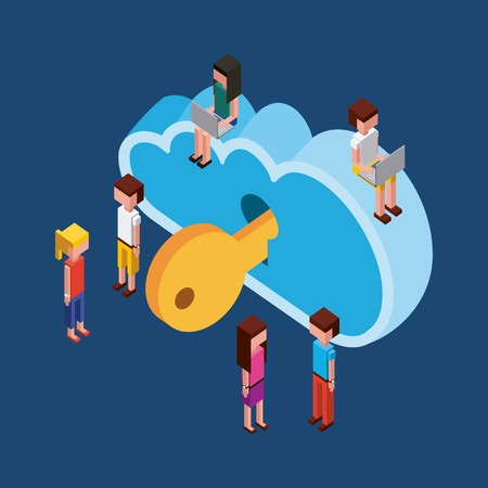 people cloud computing storage key security isometric vector illustration Illustration