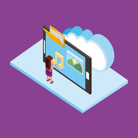 woman with smartphone cloud computing storage folder photo isometric