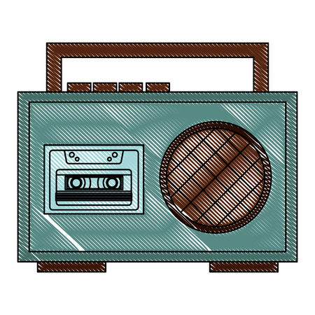 boombox radio cassette audio music vintage vector illustration