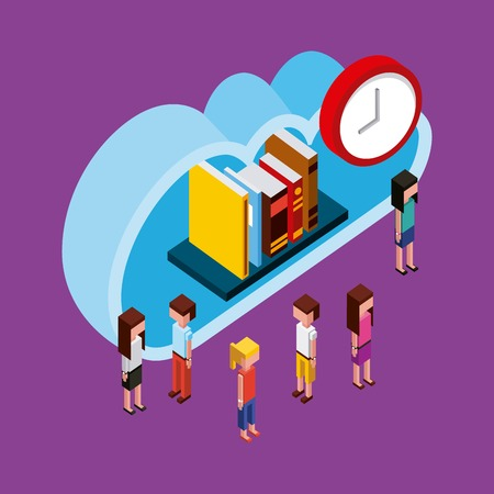 people cloud computing storage books time isometric