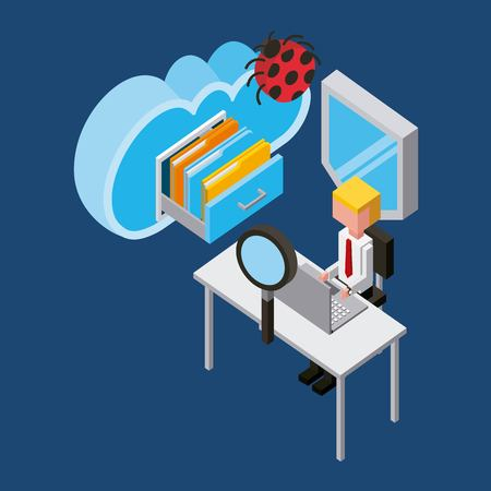 businessman working laptop protection virus cloud computing storage isometric vector illustration