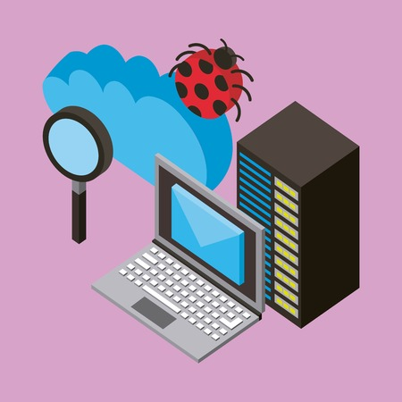 laptop database server email virus analysis cloud computing storage isometric vector illustration